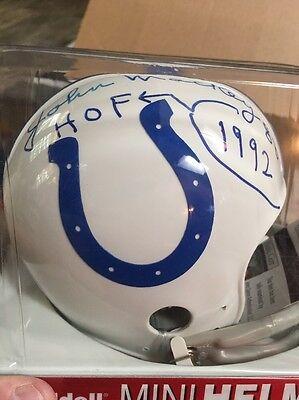BALTIMORE COLTS JOHN MACKEY SIGNED TB MINI HELMET HOF 1992 (Signed Baltimore Colts)