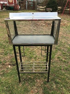 Vtg 1950's Chrome Light Hood Slate Bottom 16+ Gallon Fish Tank Aquarium Stand