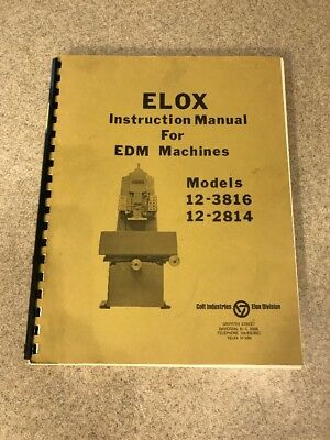 Elox Instruction Manual For Edm Machines 12-3816 12-2814
