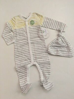 Burts Bees Baby Boy Girl Organic Coverall Hat Set Size 3 6 9 Months Layette Grey
