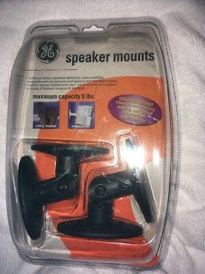 GE Universal Speaker Mount Brackets 80567 - Set of 2 - Black - Factory Sealed