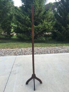 Antique Solid Oak Wood Coat Hat Rack Stand W/ 3 Feet & 6 Hooks