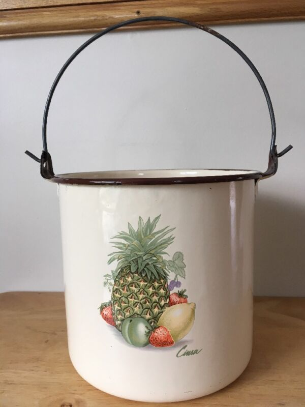 "Vintage Enamelware Cream Pail Pot ""Cinsa"" w/ Handle Pineapple Fruit"