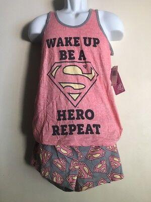 SuperGirl Women's/Juniors Sleepwear Pajamas Set DC Comics 2pc top&shorts Size L