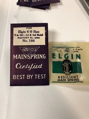 Elgin Mainspring Size 6/0 Factory 2890 #186