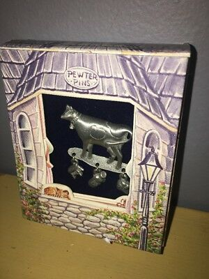 NIB Lindsay Claire Designs Fine Pewter Pin: Cow Milking Stool Jug Ice Cream - Claire Stool