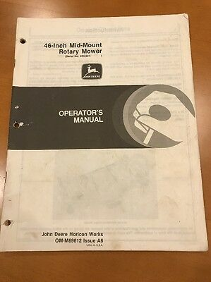 John Deere 46 Inch Mid-mount Rotary Mower Operators Manual Om-m89612 Issue A6