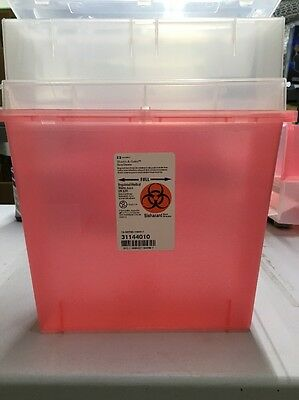 Vet Office Sharps-a-gator Sharps Container Tortuous Path Transparent Red 5 Qt