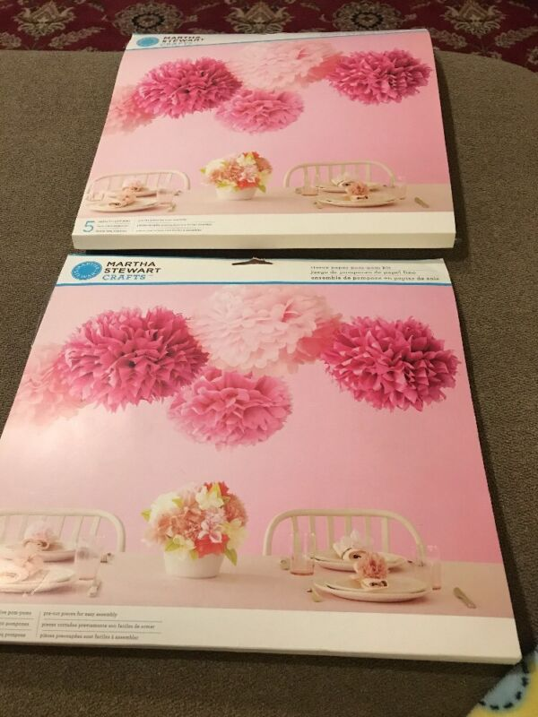 Lot Of 2 Martha Stewart Crafts Pink Tissue Paper Flower Pom Pom Kit (David)