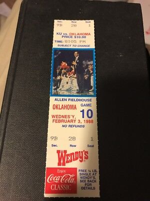 1988 Kansas Jayhawks Basketball - 1988 Kansas Jayhawks Oklahoma Sooners Full Ticket Larry Brown Basketball