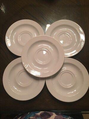 5 Bauscher Weiden Germany Bavaria White Porcelain Saucers