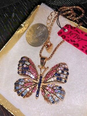 Betsey Johnson Necklace BuTTERFLY Pink Blue Black Crystals Gold Enamel Gift Box - Pink Gifts