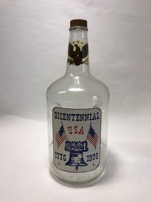 "11.5"" Vintage Half Gallon Liquor Bottle With Decals Bicentennial 1776-1976 Eagle for sale  Chula Vista"