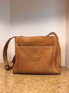 American Angel Brown Leather Shoulder Bag Purse Handbag Multi Pocket Zip 6040