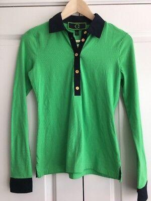 C WONDER XXS Womens Polo Shirt Green Navy Stripe Gold Buttons Stretch Knit NWT