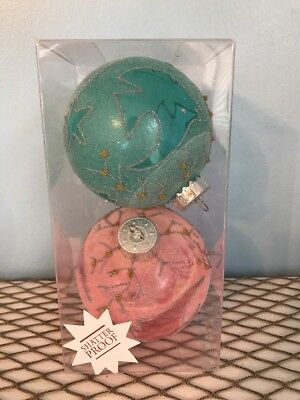 Beach Themed Christmas Ornaments (Sea Beach Themed Christmas Ornaments Two Large Frosted Balls Shatter Proof New)