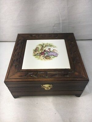 Vintage Wooden Jewelry Box Fragonard Tile French Courting - Couple Tile Box