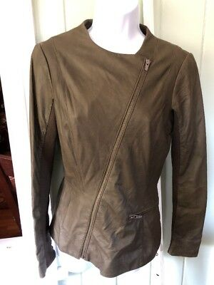 Veda Lightweight Lambskin Glove Leather Diagonal Zip Silk line Jacket Size -