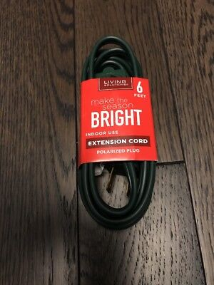 Extension cord with polarized, for indoor use,  green,  6 feet.  New. - Green Indoor Extension Cord