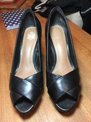 Clarks Jenness Cloud Criss Cross Peep-Toe Pumps Black Leather Sz 9.5 ()