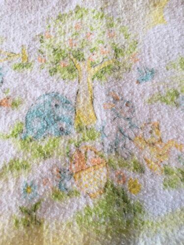 Vtg Dundee Receiving Blankets Yellow Bear Bunny Rabbit Kitty