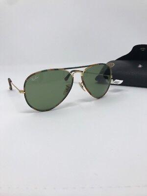 Ray Ban Aviator Full Color RB 3025JM 168/4E Brown Camo Sunglasses Green