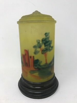 Vintage Reverse Hand Painted Frosted Glass Lamp Shade Cylinder Landscape
