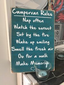 Campervan Camper VW Rules Travel Holiday Novelty Gift Wooden Hanging Plaque Sign