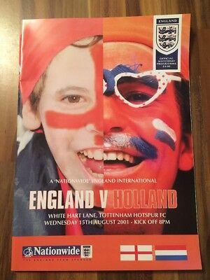 England V Holland Programme Friendly 15/8/01