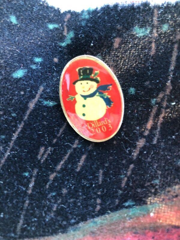 Dillard's 2003 Snowman Christmas Pin Collectible Red & Gold