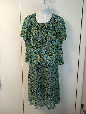 Maggie Barnes 18W 2 Piece Dress Blue/green Short Sleeve jacket