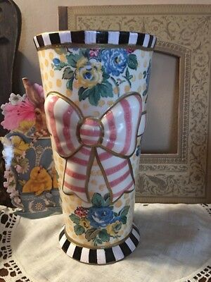 MY OWN Workman Painted Ceramic Vase with Decoupage & MacKenzie-Childs Paper Napkin
