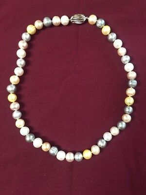 """NWT Honora Collection 18"""" Freshwater Ringed 8mm Pearl Necklace Gray Beige Gold"""