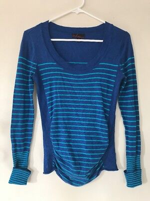 Women's Takeout Maternity Sweater Sz S Small Blue Striped