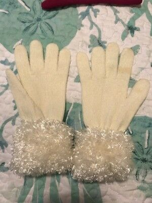 Cejon Gloves White Furry Fuzzy Small S Good 4 Russian Babushka Costume Dress Up