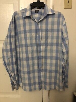 The Classic Le Tigre Size Medium Button Down Long Sleeve Shirt Blue Checkered image