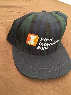 First Interstate Bank Plaid Ball Trucker Cap Hat