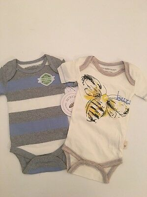 Burts Bees Baby Boy Organic 2 Bodysuits Blue Grey Size Newborn 3 6 Months Layett