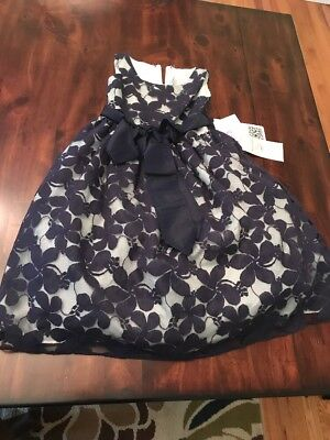 NWT Pink Princess Formal Dress Size 4 Blue Flower Sweet Kids Special Occasion