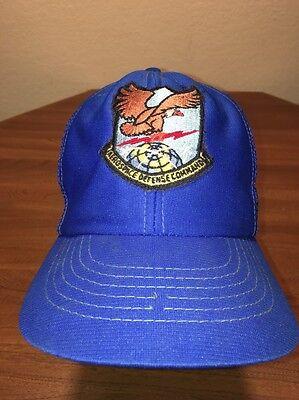 Aerospace Defense Command Meshback Snapback Blue Adjustable Vintage Youth Hat