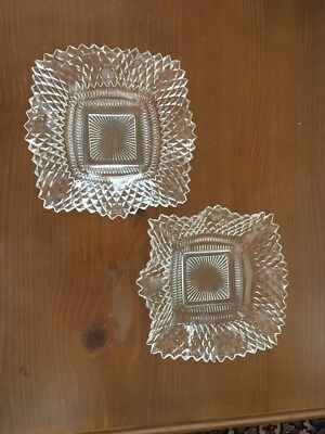 Two Vintage Clear Cut Square Diamond Glass Finger, Relish, Or Ash Tray Bowls