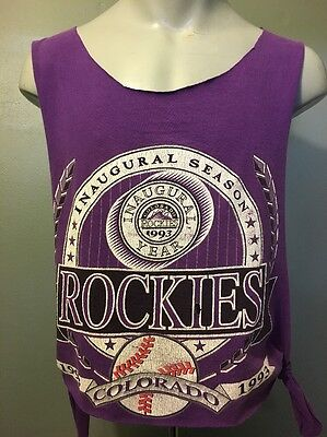 Vtg 1990s 90s Colorado Rockies Custom Tank Top Sexy Shirt Baseball Purple Mens