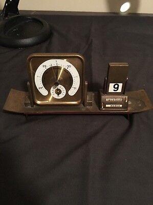 Vintage SUNDO Brass Desk Perpetual Calendar Barometer !!! L@@K !!!