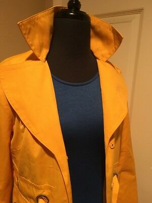 MICHAEL KORS GOLDEN YELLOW NEW FULLY LINED BELTED SUMMER COAT SP
