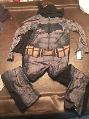 Mens MD Batman W Cape Hooded One Piece Pajama Fleece Onsie PJ Set Free - Batman Onsie