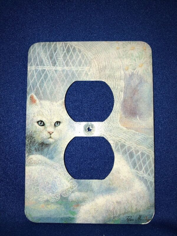 """CAT KITTY Metal Switch Plate 2 Outlet 5 X 3.5""""""""Mulberry Pre-owned Ruane Manning"""