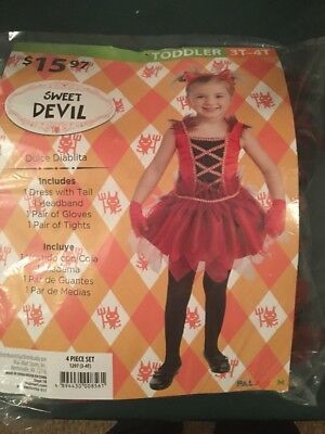 Halloween Costume Girls Toddlers Sweet Devil  Size 3t-4t New