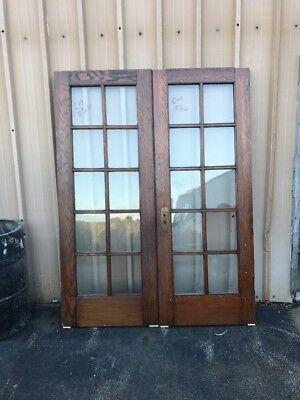 Cm 226 Match Pair Antique French Doors Oak 5' X 79 1/4 X1 3/8 for sale  Hubbard