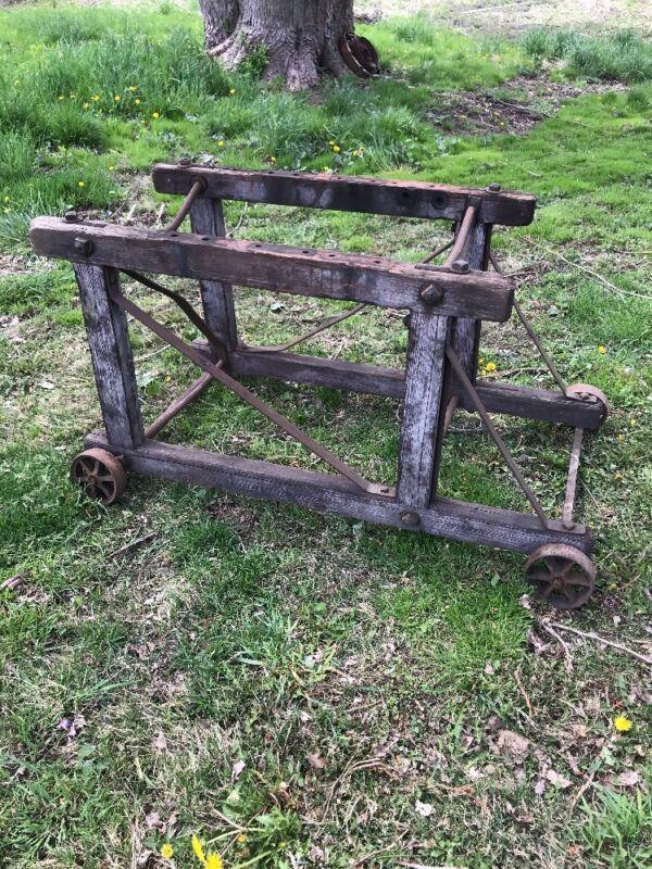 Factory Cart Industrial Table Base Wood Cast Iron Wheels Antique Primitive