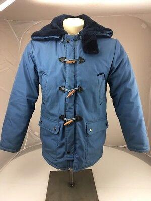 Vintage 70s Fashioned Sportswear Jacket Size M Mens Toggle Metal Zipper Fur Blue